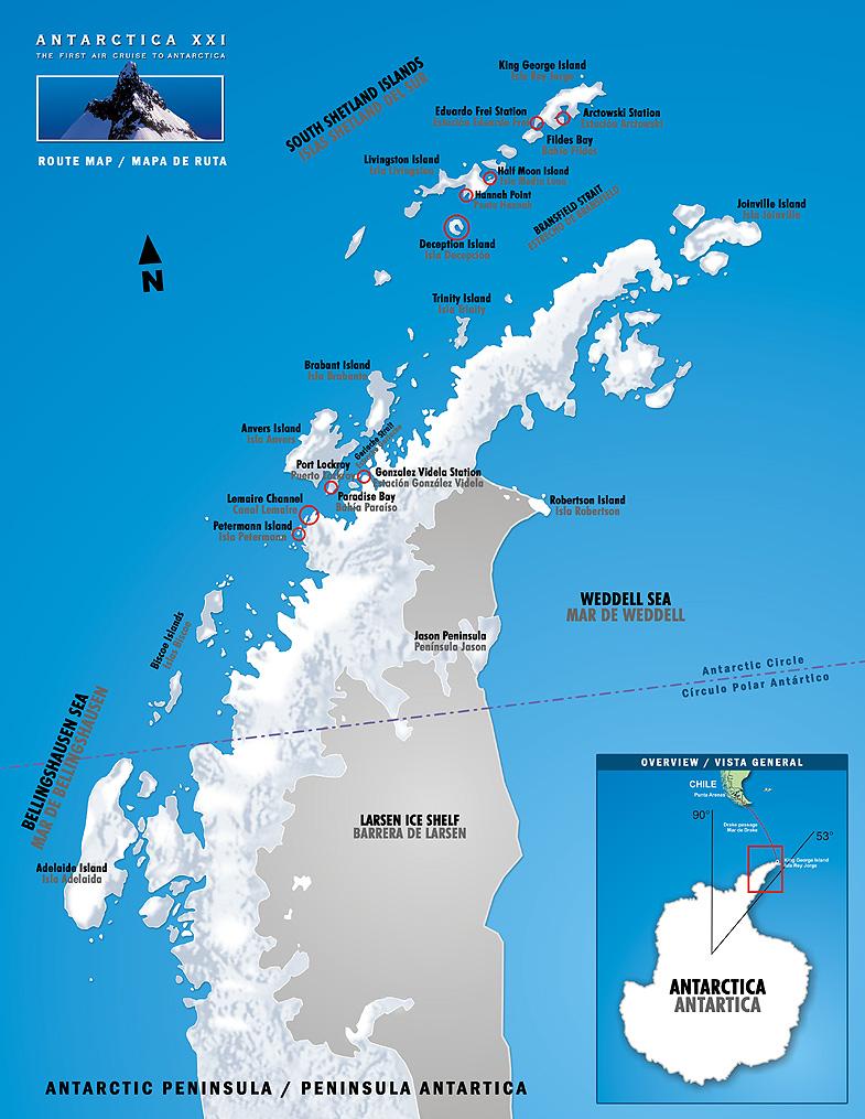 Antarctic XXI - ANTARCTICA PENINSULA Map